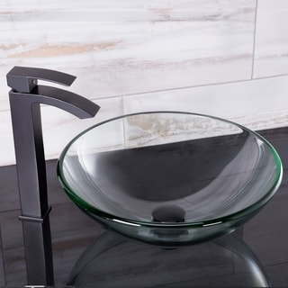 VIGO Crystalline Glass Vessel Sink and Duris Faucet in Matte Black