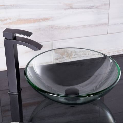 VIGO Crystalline Glass Vessel Sink and Duris Vessel Faucet Set