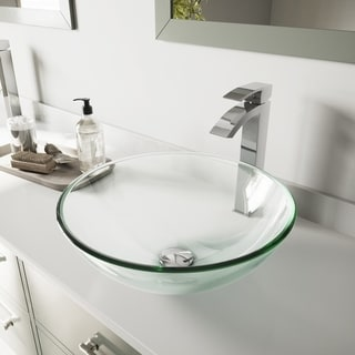 VIGO Crystalline Glass Vessel Bathroom Sink and Duris Faucet Set