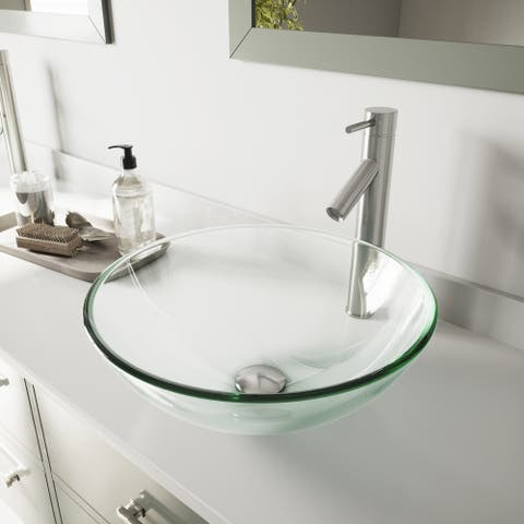 VIGO Crystalline Glass Vessel Bathroom Sink and Dior Vessel Faucet Set