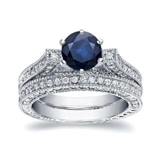 Auriya 14k White Gold 1ct Blue Sapphire and 1ct TDW Round Diamond Bridal Ring Set (H-I, I1-I2)