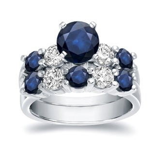 Auriya 14k White Gold 3 1/10ct Blue Sapphire and 7/8ct TDW Round Diamond Bridal Ring Set (H-I, I1-I2)