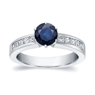 Auriya 14k White Gold 1/2ct Blue Sapphire and 1/2ct TDW Diamond Ring (H-I, SI1-SI2)