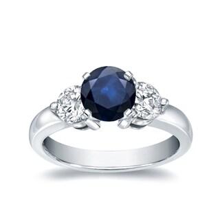 Auriya 14k White Gold 3/5ct Blue Sapphire and 2/5ct Diamond 3-Stone Ring (H-I, I1-I2)