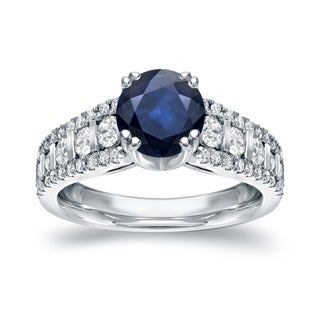 Auriya 14k White Gold 1 1/4ct Blue Sapphire and 3/4ct TDW Round Diamond Ring (H-I, I1-I2)