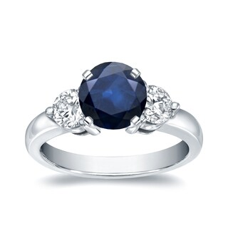 Auriya 14k White Gold 1ct Blue Sapphire and 3/4ct TDW Diamond Three Stone Ring (H-I, I1-I2)