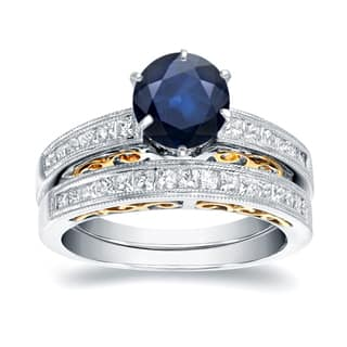 Auriya 14k Two-Tone Gold 1ct Sapphire and 3/4ct Vintage Diamond Engagement Ring Set