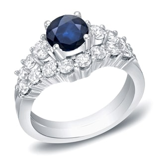 Auriya 14k White Gold 1ct Blue Sapphire and 2ct TDW Diamond Bridal Ring Set (H-I, I1-I2)