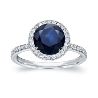 Auriya 14k White Gold 2ct Blue Sapphire and 2/5ct TDW Diamond Halo Ring (G-H, SI1-SI2)