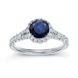 Auriya 14k White Gold 1ct Blue Sapphire and 3/5ct TDW Round Diamond Halo Ring (H-I, SI1-SI2)
