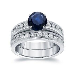 Auriya 14k White Gold 1ct Blue Sapphire and 1ct TDW Round Diamond Bridal Ring Set (H-I, SI1-SI2)