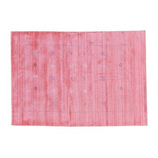 Wool and Rayon from Bamboo Silk Loomed Modern Gabbeh Oriental Area Rug (4'2 x 5'10)