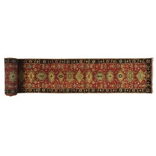 Hand-knotted  Pure Wool Antiqued Karajeh Xl Runner Area Rug (2'7 x 23'10)