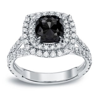 Auriya 18k White Gold 2 1/4ct Cushion-Cut Black Diamond Ring (Black)