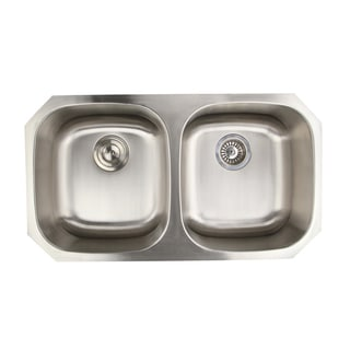 16-gauge Double Equal Bowl 50/50 Ratio Undermount Kitchen Sink with Drains