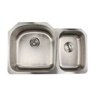 16 Gauge Double Bowl Undermount Kitchen Sink in 70/30 Ratio with Drains