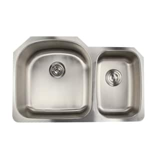 Clearance 16 Gauge Double Bowl Undermount Kitchen Sink In 70 30 Ratio With Drains