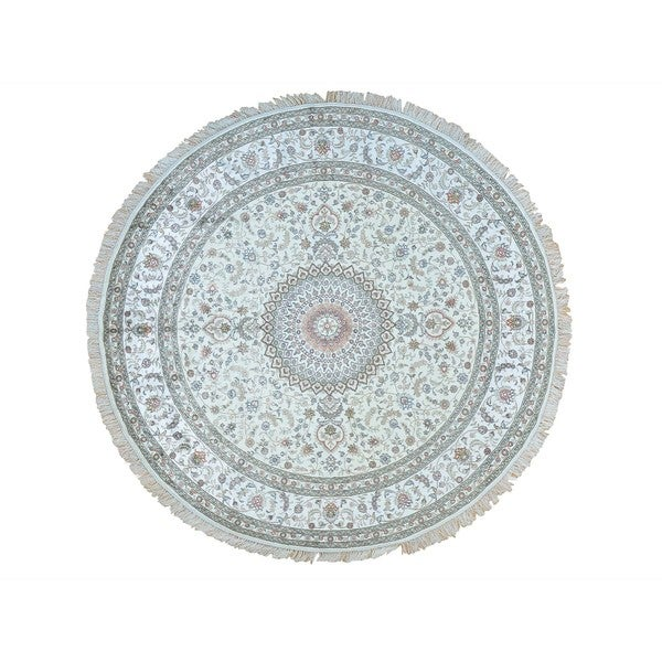 Hand-knotted Round Silken Esfahan 250 Kpsi Ivory Area Rug (9' x 9'1) - 2'4 x 20'1