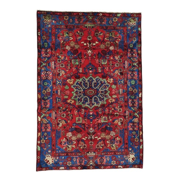 Shop Hand-knotted Full Pile Red Persian Nahavand Oriental
