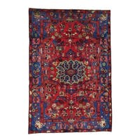 Hand-knotted Full Pile Red Persian Nahavand Oriental Area Rug (5' x 7'5)