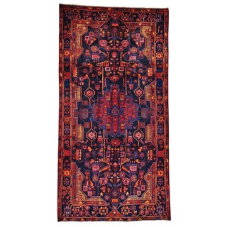 Hand-knotted Navy Blue Full Pile Persian Nahavand Area Rug (5'4 x 10'4)