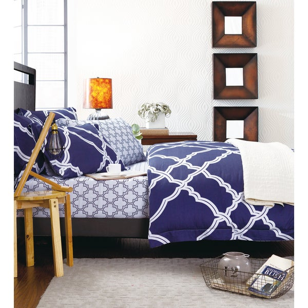 Sherry Kline Blues Hues 3-piece Reversible Print Cotton Duvet Cover Set