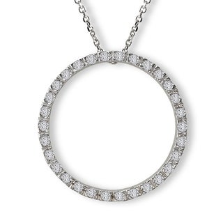 Avanti Sterling Silver Cubic Zirconia Large Circle Necklace