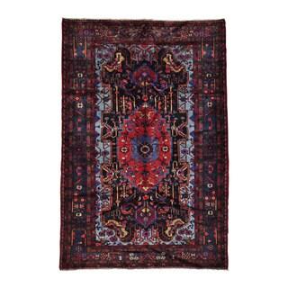 Hand-knotted Denim Blue Full Pile Persian Nahavand Area Rug (5'3 x 7'10)