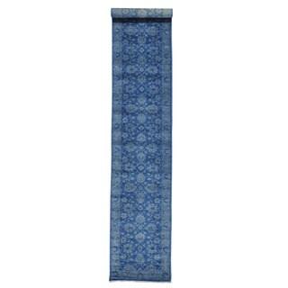 Overdyed Peshawar Blue Cast Oriental Xl Runner Area Rug (2'8 x 14'9)