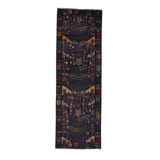 Hand-knotted Runner Navy Blue Pure Wool Afghan Baluch Area Rug (3' x 8'10)