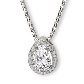 Avanti Sterling Silver Cubic Zirconia Pear Halo Necklace