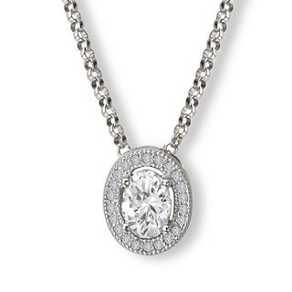 Avanti Sterling Silver Cubic Zirconia Oval Halo Necklace
