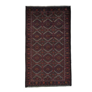 Hand-knotted Geometric Design Afghan Baluch Oriental Area Rug (4'4 x 7'6)