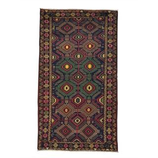 Handmade Pure Wool Geometric Design Afghan Baluch Area Rug (4'2 x 7'6)