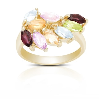 Dolce Giavonna Gold Over Sterling Silver Multi Gemstone Ring