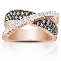 Finesque Rose Gold Over Sterling Silver 2/5 Ct TDW Black and White Diamond Crossover Design Ring