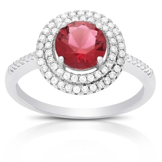 Dolce Giavonna Sterling Silver Simulated Rhodolite and Cubic Zirconia Ring (Size 7)