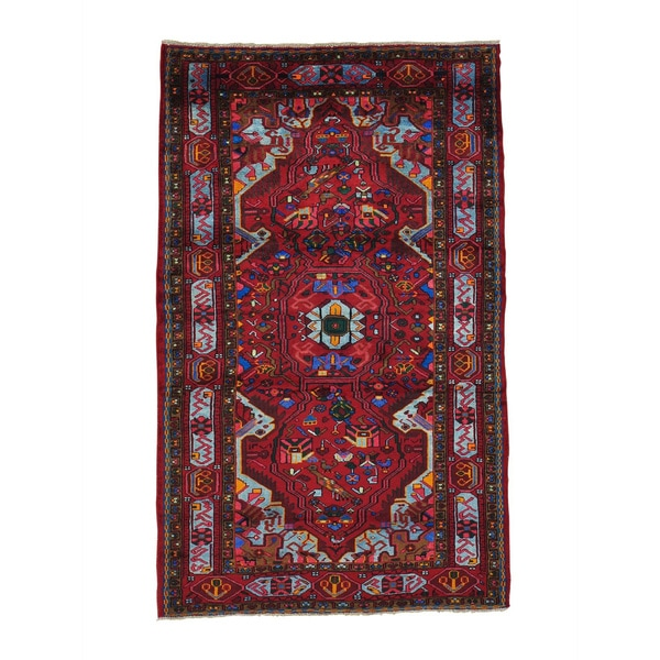 Hand-knotted Persian Nahavand Full Pile Oriental Area Rug (4'5 x 7'2)