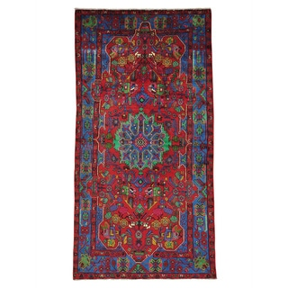 Hand-knotted Pure Wool Full Pile Persian Nahavand Area Rug (5' x 9'6)