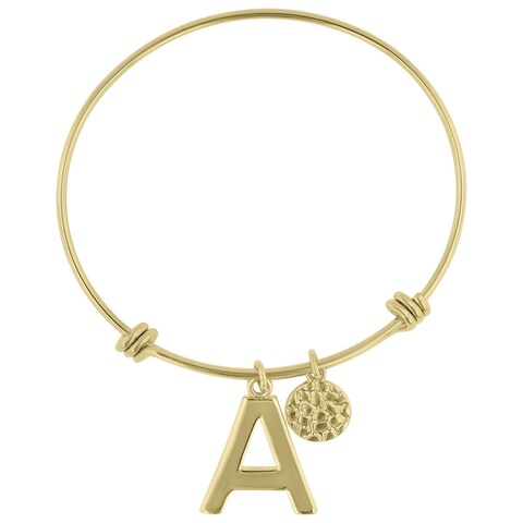Yellow Gold Over Brass Initial Expandable Wire Bangle Bracelet