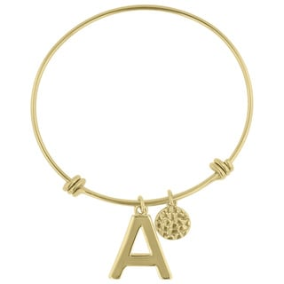 Yellow Gold Over Brass Initial Expandle Wire Bangle Bracelet