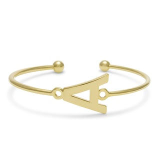 Initial Bangle Bracelet In Yellow Gold Over Brass (More options available)