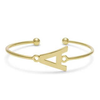 Initial Bangle Bracelet In Yellow Gold Over Brass