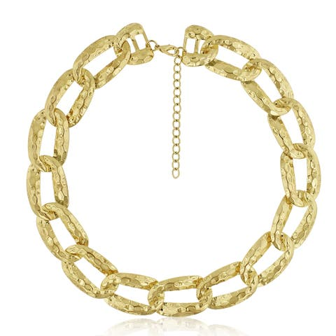 Gold Over Brass Brass Link Chain Necklace, 16 Inches - Orange