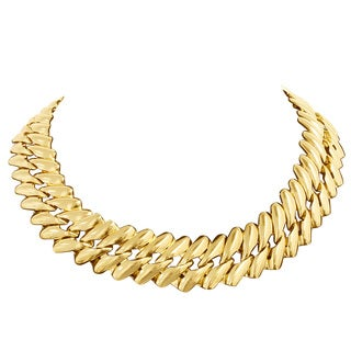 Goldplated Brass Twisted Chain Necklace, 18 Inches