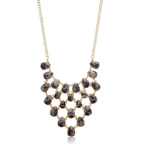 Coffee Marble Stone V Bib Necklace, Gold Over Brass, 18 Inches - Black