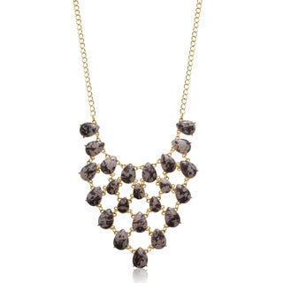 Coffee Marble Stone V Bib Necklace, Gold Over Brass, 18 Inches