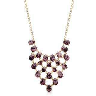 Goldplated Brass Pink Marble Stone V Bib Necklace - 18 Inches