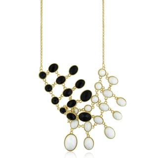 Black and White Reversible Bib Necklace, Gold Over Brass, 18 Inches
