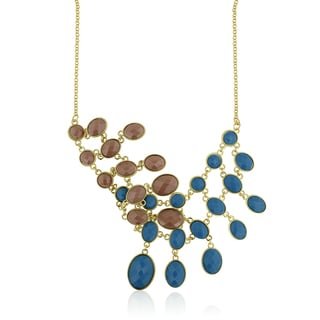 Gold Overlaid Brass Turquoise and Taupe Reversible Bib Necklace, 18 Inches